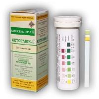 КЕТОГЛЮК-1 (50шт) определения глюкозы и кетоновых тел в моче